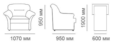 Габаритные размеры кресла Глаффи-2