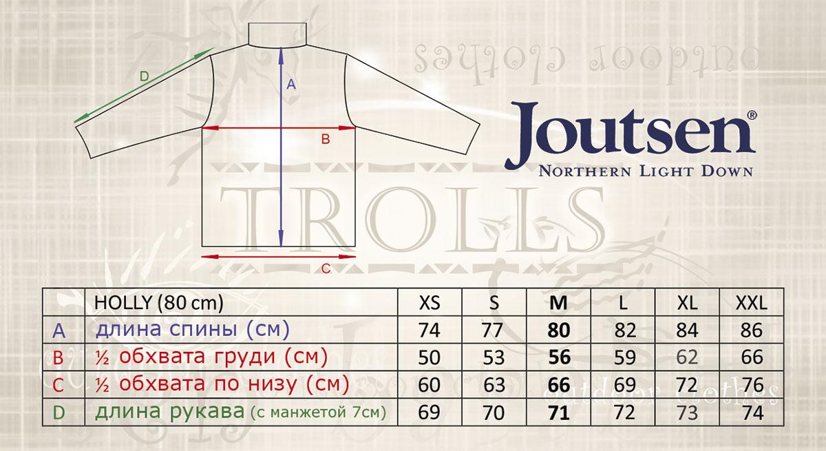 Размеры пуховика Holly финской фирмы Joutsen