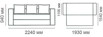 Габаритные размеры дивана Рио-3