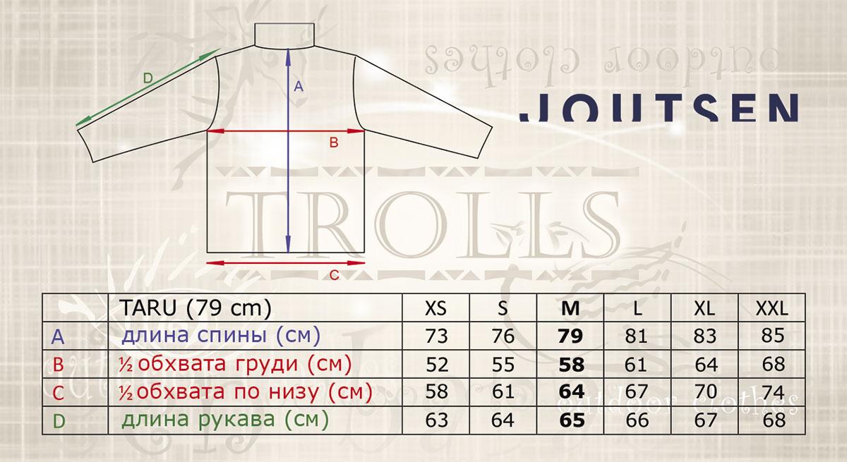 Размеры пуховика Taru финской фирмы Joutsen