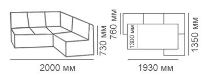 Габаритные размеры углового дивана Карелия КУ