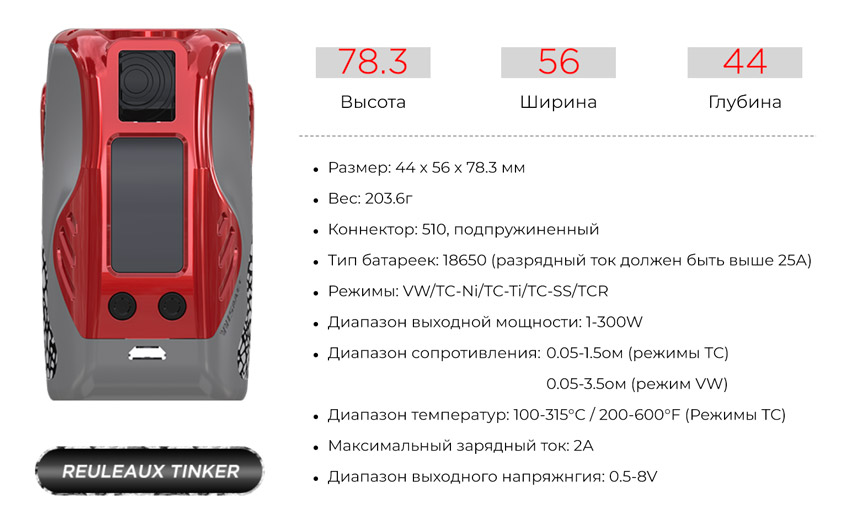 Боксмод WISMEC Reuleaux Tinker