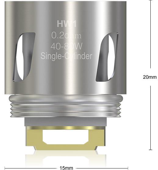 Размеры Испарителя Eleaf HW1 0.2ом