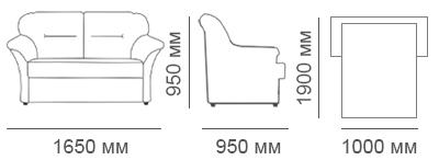 Габаритные размеры 2-местного дивана Глаффи-2